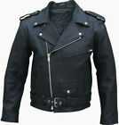 Mens Black Brando Real Leather Jacket Terminator Style Biker Gang Rock Jacket