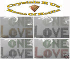 ONE LOVE IRON-ON HOTFIX RHINESTONE CRYSTAL TSHIRT TRANSFER APPLIQUE MOTIF PATCH