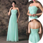 Newest Chiffon Strapless Formal Bridesmaid Evening Party Gown Prom Wedding Dress