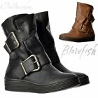 Womens Blowfish Barnaby Wide Fitting Flat Winter Ankle Boot Whiskey Black Size