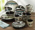 16 or 32 Pc Trout Lodge Dinnerware Set Plates Bowls Mugs Fishing Dishes Cabin
