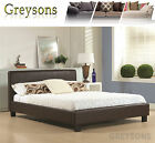 NEW Havana Faux Leather Sleigh Bed Black / Brown / Cream - Memory Foam Mattress