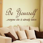 BE YOURSELF decal wall art sticker quote transfer graphic DAQ13