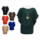 NEW LADIES PLUS SIZE SHORT BATWING SLEEVE KNITTED JUMPER NECKLACE TOP 14-24