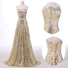 GOLD SEQUIN Strapless Bridesmaid Prom Ball Gown Evening Party Long Maxi Dress