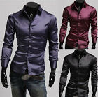 Mens Luxury Design Slim Fit Dress Shirts Bright Silk Casual T-Shirts Tops Blouse