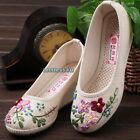 Lady Embroidered Flower Low Wedge Shoes Slippers Loafer Chinese Ballet Linen Hot
