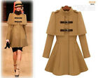 New Korean sweet woman cape stand collar double-breasted wool coat