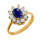 1.30 Ct Oval Natural Blue Sapphire 14K Yellow Gold Ring