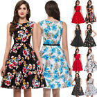 1950s 60s Pinup Swing Floral Print Short Cocktail Vintage Retro Dress