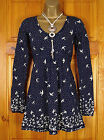 NEW FAT FACE LADIES NAVY BLUE CREAM BIRD PRINT COTTON TUNIC TOP UK SIZE 8 - 18