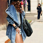 Women Blue Denim Trench Coat Hoodie Hooded Oversized Outerwear Jean Jacket UKFO
