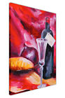 RED WINE AND BOTTLE CANVAS WALL ART PICTURES PHOTO PRINTS FOOD PAINTING REPRINT