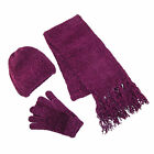 New CTM Womens Chenille Solid Hat Gloves and Scarf Winter Set