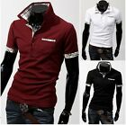 Fashion Men Stand-Collar Scotland Check Casual Polo Shirts T-shirt Tops BD
