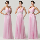 BIG SALE~Deep V Sexy Halter Backless Bridal Formal Gown Evening Prom Party Dress