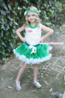 XMAS Rhinestone Baby Santa Top Green White Pettiskirt Kids Girl Outfit 1-8Year