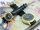 Elegant Fashion Pair Lover Gold Black Dial Leather Band Mechanical Wrist Watch