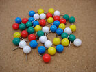 48 Large 9mm Round Head Map Pins Cork Notice Board - Blue Green Red White Yellow