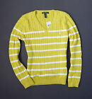NWT Polo Ralph Lauren WOMEN's Bright Yellow/White  Striped V-Neck Sweater $89.99