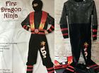 "New SUPER WARRIOR Black FIRE DRAGON ""NINJA"" Costume M (8-10) S (4-6)"
