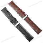 Black/Brown Leather/Rubber Watch Strap 20mm 22mm 24mm + Spring Bar Remover Tool