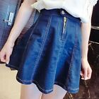 Wash Denim Skater Skirt A Line Flare Flippy Short Mini High Waist Zipper Vintage