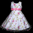 VarWed2255 w779 White Wedding Holiday Party Pink X'mas Flower Girls Dress 2-12y