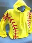 Neon Yellow Red Softball Graphic Hoodie Name Added Sweatshirt  Adult Original