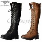 Womens Rocket Dog Landers Bromley Knee High Military Lace Up Boots Black Brown