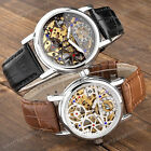 Mens Stylish Fashion Crystal Hollow Skeleton Auto Mechanical Analog Wrist Watch