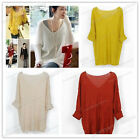 Women Lady Sexy V-neck Oversized Batwing Pullover Knit Jumper Loose Sweater Top