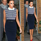 Womens Celebrity Sleeveless Grid Splicing Wear to Work Formal Shift Pencil Dress