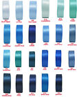 """2y 5y 10y 38mm 1 1/2"""" Blue Turquoise Royal Navy Double Sided Satin Ribbon  Eco"""