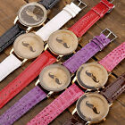 Mustache Logo Mens Ladies Unisex Leather Dial Rosy Gold Case Quartz Analog Watch