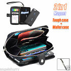 Black Zip Purse Leather Case Cover For Apple iPhone 4S 4+Stylus