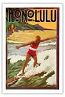 Honolulu Hawaiian Surf Rider Aloha Beach Wave Vintage Art Poster Print Giclee