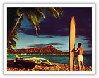 Surf Outrigger Canoe Diamond Head Hawaii Aloha Vintage Art Poster Print Giclee