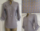 NEW EX WHITE STUFF LADIES BLUE GREY GOLD SWIRL TOP BLOUSE SHIRT TUNIC 8 - 18
