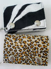 New Animal Faux Fur Cheetah or Zebra Trifold Wallet w Chain