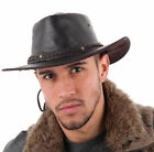 Explorer crushable real leather bush hat with chin strap.