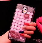 Luxury Bling Crystal Diamond Lips Transparent Case Cover For Samsung Phone ZHB