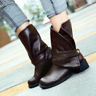 Womens Cuffed Collar Zippered Punk Gothic Military Ankle Boots Shoes-US AB□