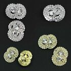 2× Sparkle Crystal Rhinestone Silver/Gold Tone Shank Half-round Buttons Sewing