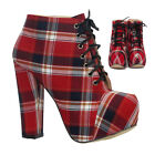 WOMENS LADIES RED TARTAN BOOTS CANVAS HIGH HEEL ANKLE BOOTS SIZE UK 3 4 5 6 7 8