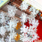 1 String Christmas Decorations Supply White Snow Snowflake Hanging Ornaments Set