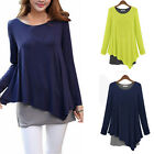 Women Irregular Hem Swing Loose Tunic T-Shirt Casual Long Sleeve Tops Tee Blouse