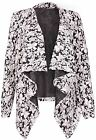 Womens Flock Flower Print Ladies Stretch Long Sleeve Open Cardigan Jacket Top