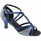 TPS Blue & Grey Latin Ballroom Salsa Custom-made Dance Shoes D586