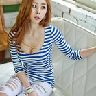 Autumn Stripe Tight Long Sleeve T-shirt Women Exquisite Cotton Tops Blouse BDAU
